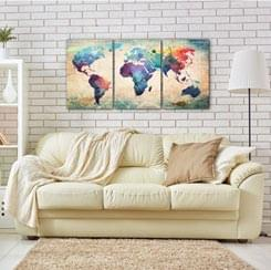 World Maps Canvas Prints