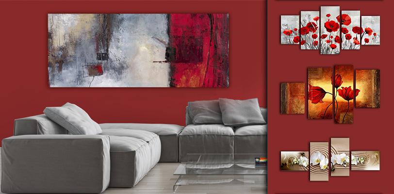 Tableaux pour mur rouge - Come disporre i quadri in sala ...