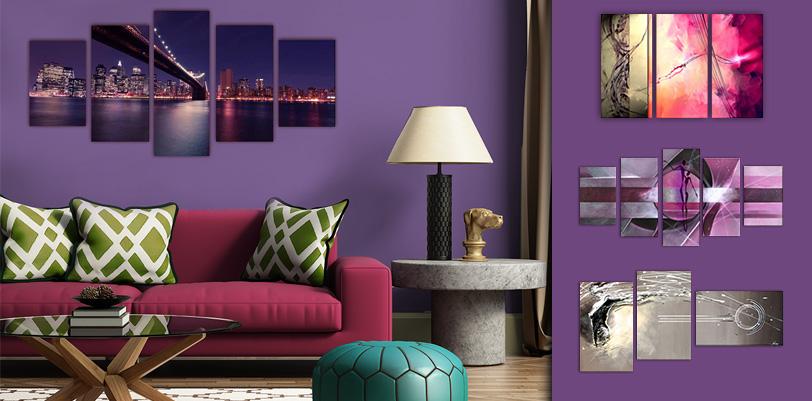 tableaux pour mur violet. Black Bedroom Furniture Sets. Home Design Ideas