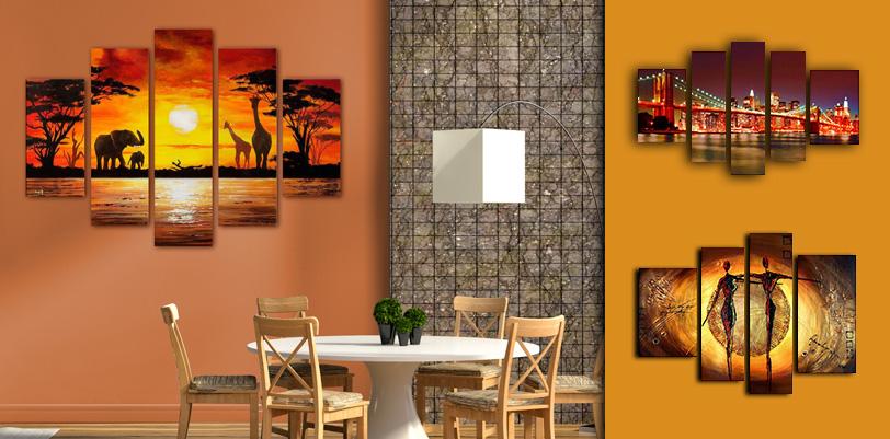 Tableaux pour mur orange for Case stupende