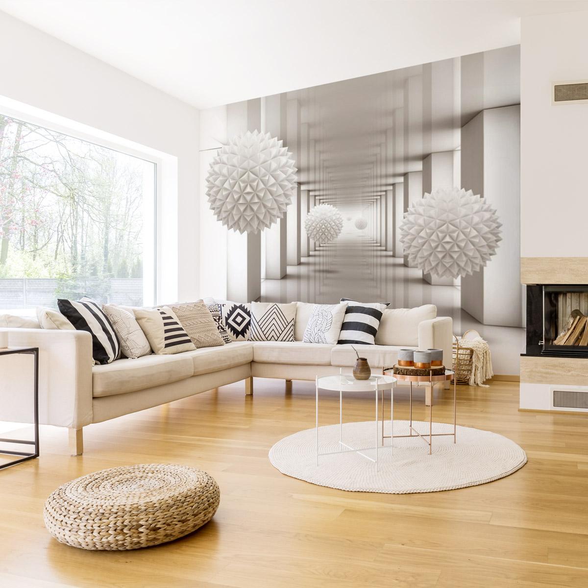 papier peint 3d une d coration murale pour cr er l 39 effet de l 39 illusion. Black Bedroom Furniture Sets. Home Design Ideas
